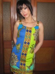 Edie Vintage-Mod Mini Blue and Green Grecian Pattern Dress S/M