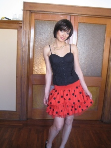 Katy Vintage Red and black Polka Dot Last Friday Night 80's Skirt